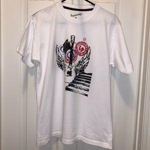 Burnside Graphic T-shirt, men's large, white, EUC